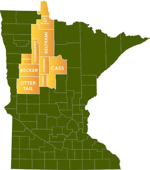 Service area highlighted in Minnesota